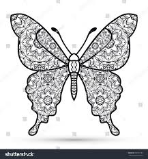 royalty free black and white decorative butterfly 366797783