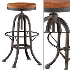 Reclaimed Wood Bar Stool Oleg Industrial Loft Iron Base Reclaimed Wood Bar Counter Stool 3d