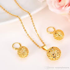 fine gold chain necklace images Round ball pendant necklace chain earrings lantern sets jewelry jpg