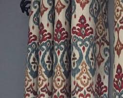 Red Blue Curtains Ikat Curtains Etsy