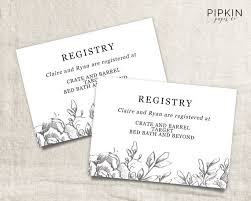 bridal shower registry wedding registry card wedding info card registry