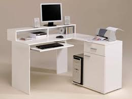 Corner Computer Desk Ideas Furniture White Corner Computer Desk Idea With Drawers And Cpu