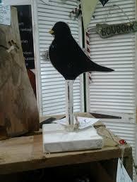 new made painted wooden black bird blackbird ornament