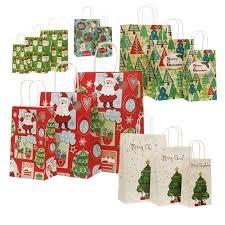 christmas paper bags 10 pcs lot 21x13x8cm christmas paper bag with handles decoration
