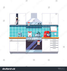 Modern Kitchen Interior Modern Kitchen Interior Cabinets Shelves Oven Stock Vector