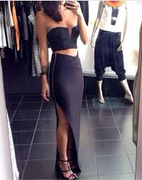 two piece cropped bodycon maxi slit skirt set event dresses