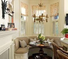 bay window breakfast nook dining room transitional with white