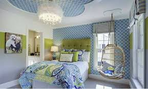 bedroom colors ideas u2013 blue and bright lime green interior