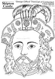 coloring page george clifford third earl of cumberland face