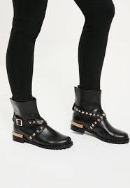 heeled biker boots black star detail biker boots missguided