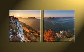 2 piece canvas green landscape wall decor