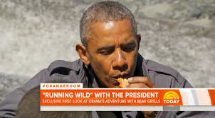 Bear Gryls Meme - obama on running wild eats half eaten fish with bear grylls in new