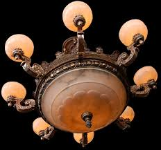 Alabaster Lighting Chandeliers 7459 19th C Bronze 8 Arm Justice Chandelier With Alabaster Shades