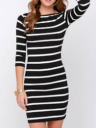 Black And White Striped Bodycon Dress 365 Days Return Tops Black And White Striped 3 4 Sleeve Bodycon