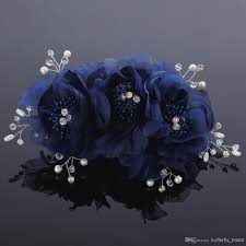 Cheap Corsages For Prom 2014 Hote Sale Navy Blue Light Blue Bbridal Hair Accessories Wrist