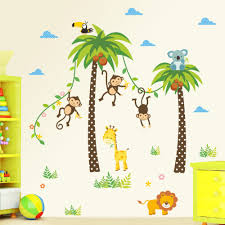 popular animal wall decals for nursery buy cheap animal wall jungle animals wall stickers kids rooms safari nursery rooms baby home decor poster monkey flowers