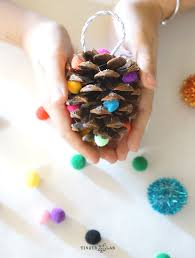 pom pom pinecone ornament craft tinkerlab