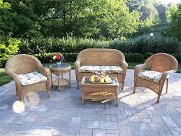 Round Wicker Patio Dining Set - patio 7 white 38 round synthetic wicker grosfillex havana