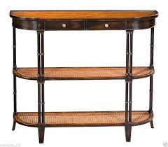 Rattan Console Table Console Table Black Walnut Rattan Shelf Handmade Faux Bamboo Leg