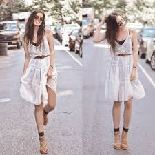 elle may leckenby sheer long maxi white dress brown cap lace up