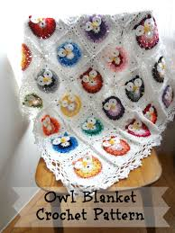 Crochet Owl Rug Digital Crochet Pattern Owl Blanketcrocheted Blanket