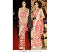 bollywood style deepika padukone georgette saree in peach color