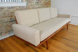Modern Mid Century Sofa by Mel Smilow Walnut Frame Mid Century Sofa With New Maharam