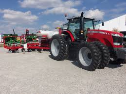 massey ferguson 8650 tractor hooked to white 9800 corn planter