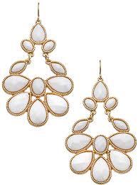 teardrop chandelier earrings bijoux gold and white cabochon teardrop chandelier earrings