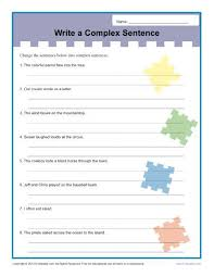 write a complex sentence worksheet