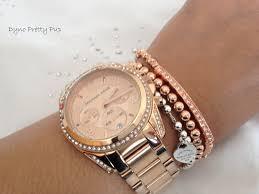 rose gold crystal bracelet images Michael kors bracelet rose gold plate tone beaded leather bracelet jpg