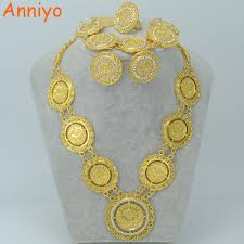 rhinestone necklace bracelet images Anniyo arab coin jewelry sets necklace bracelet earrings ring jpg