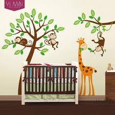 stickers girafe chambre bébé arbre de bande dessinée papier peint stickers zoo singe girafe wall