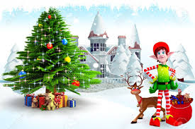 elves and reindeer with tree stock photo picture and