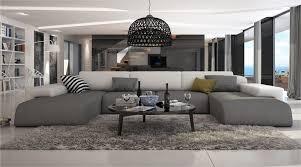 salon canape ce grand canapé d angle en u conférera à votre salon moderne un look