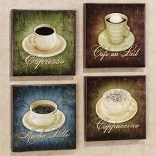 4 piece coffee house bistro cafe wall plate rack set decor