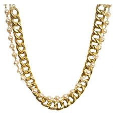 small chain necklace images Chanel vintage 39 88 gold chain link and small pearl choker necklace jpg