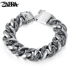 luxury chain bracelet images Zabra plant totem genuine 925 silver bracelets punk rock vintage jpg