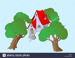 illustration of a cartoon tree house in big oak inside garden
