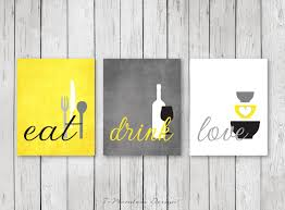 Yellow Kitchen Walls by Kitchen Wall Art Print Set Eat Drink Love Yellow Grey