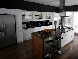 white wooden kitchen cabinet and dark brown wooden kitchen islands