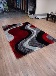 2 piece set black grey with red shag rug u0026 rug pad rug addiction