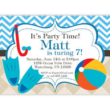 Personalized Birthday Invitation Cards Pool Party Invitation Blue Chevron And Tan Argyle Beach Ball