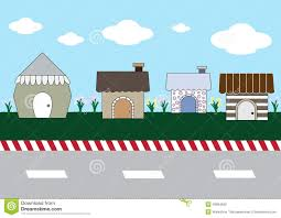 cute cartoon homes on street stock vector image 49864690