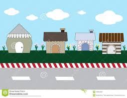 cute cartoon homes on street stock vector image 49864690