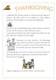 worksheet thanksgiving history