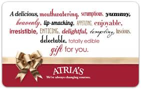 gift cards for restaurants gift cards atria s restaurant