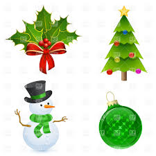 christmas icon holly tree snowman and bauble vector image 5400