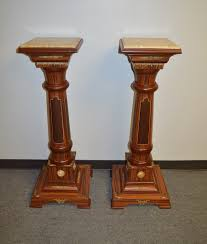 Wood Pedestal Stand Inlaid Exotic Wood Marble Top Pedestal Plant Stand W Bronze
