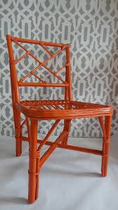 Vintage Bamboo Chairs Faux Bamboo Rattan Orange Lacquer Chair Chinoiserie By Tweakedhome